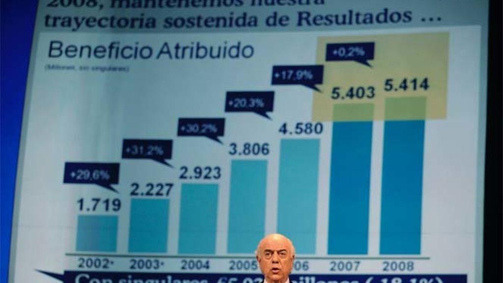 El presidente del BBVA presentando los resultados en Bilbao