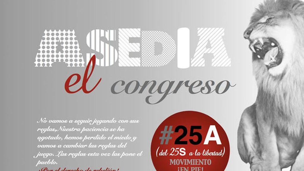 Cartel de la convocatoria de la plataforma ¡En Pie! para asediar el Congreso