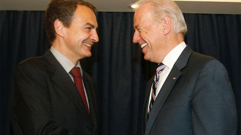 Biden y Zapatero en la Cumbre de Líderes Progresistas