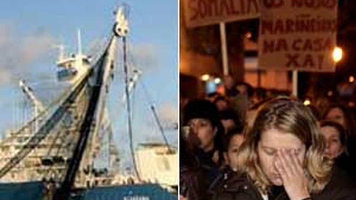 Miles de personas pidieron la liberación de los tripulantes en dos concentraciones en Bermeo y Vigo. Vídeo: INFORMATIVOS TELECINCO