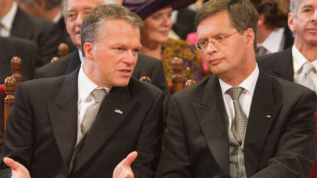 Jan Peter Balkenende y Wouter Bos de Holanda