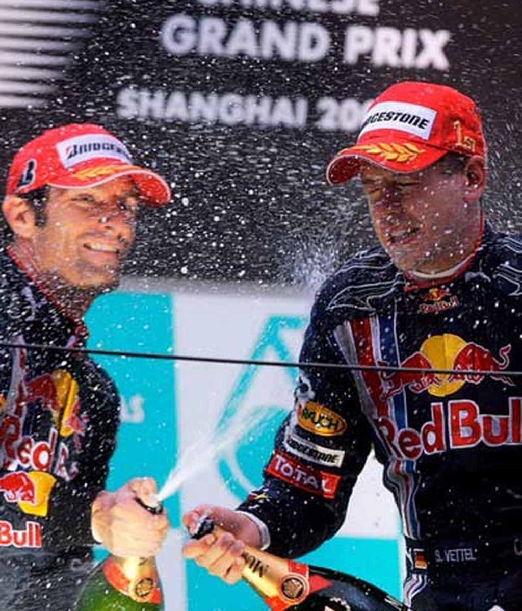 La celebración entre los pilotos de Red Bull