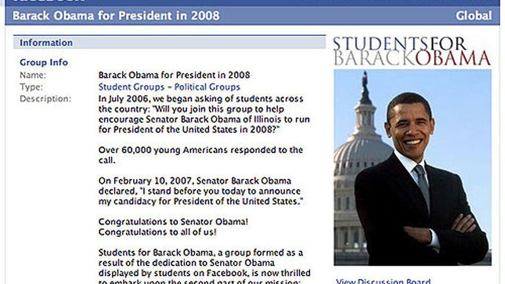 Una de las páginas dedicadas a Barack Obama en la red Facebook.