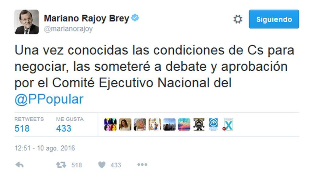 """Rajoy se comprometió en Twitter a """"someter a aprobación"""" en el PP las condiciones de Ciudadanos"""