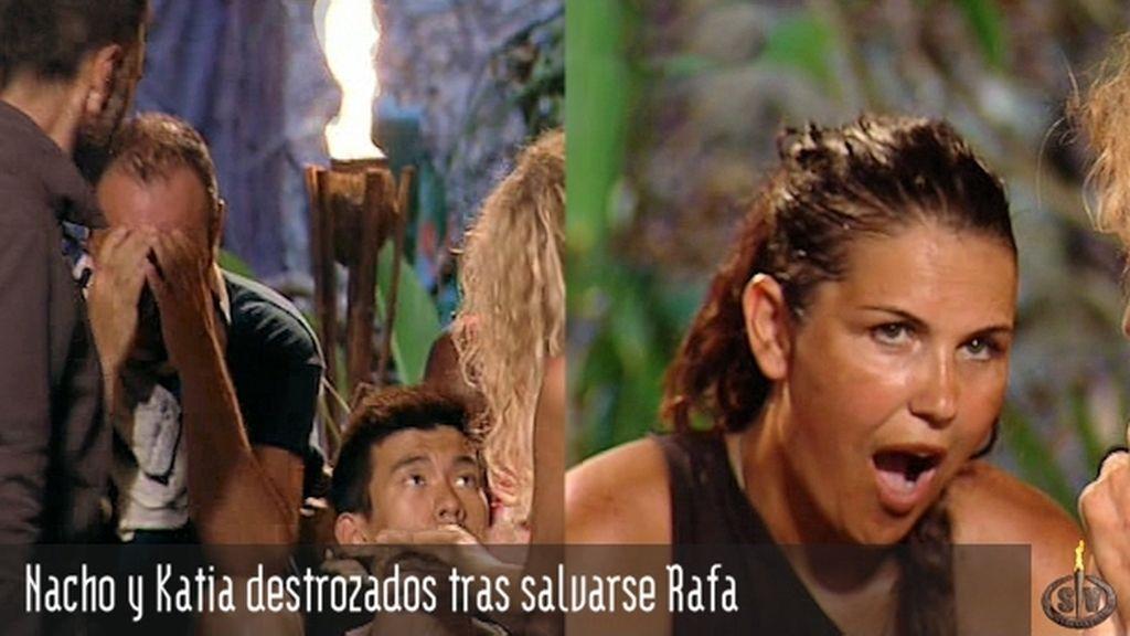 Nacho y Katia destrozados tras salvarse Rafa