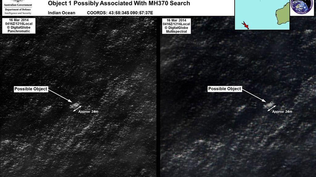 Imagen de los objetos hallados por Australia