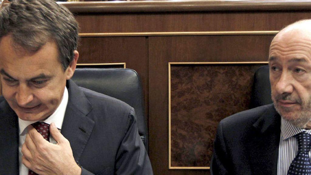 José Luis Rodríguez Zapatero y Alfredo Pérez Rubalcaba durante la Sesión de Control