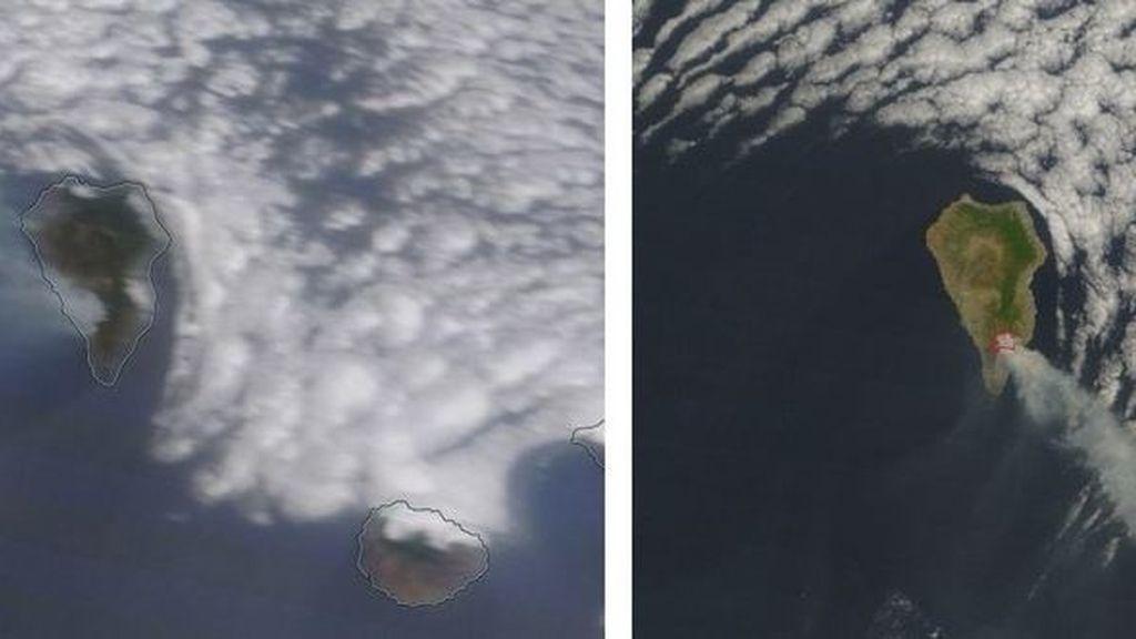 Incendio de La Palma a vista de satélite