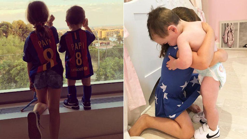 Ya en Barcelona, los peques han deseado suerte a su padre en la nueva temporada