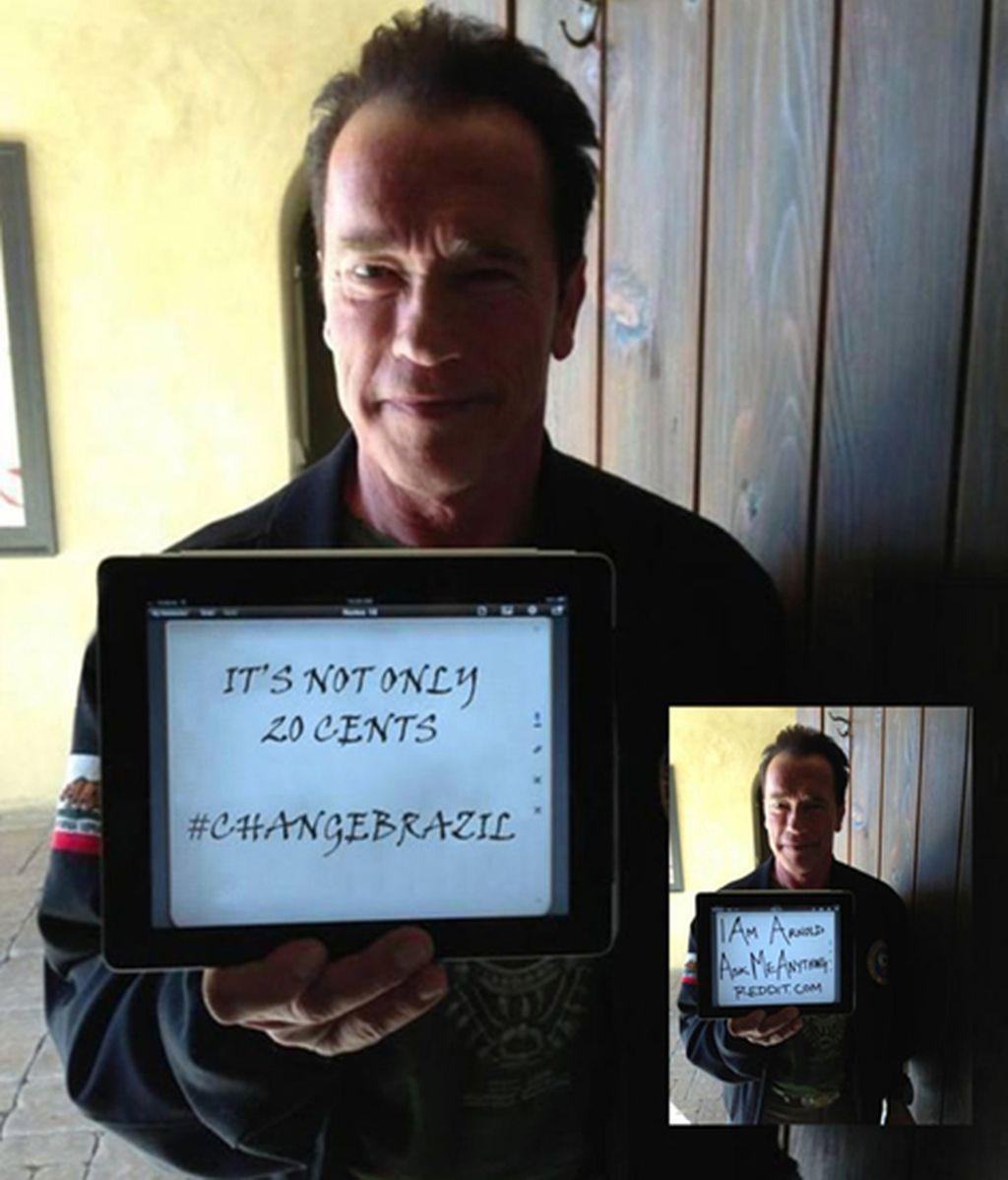 Cambian la foto de Schwarzenegger para apoyar las protestas de Brasil