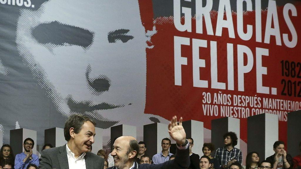 Zapatero y Rubalcaba homenajean a Felipe González