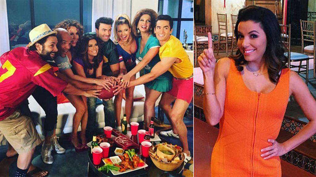 Eva Longoria lo vio con sus compañeros de 'Telenovela', ¡no faltaron las alitas!