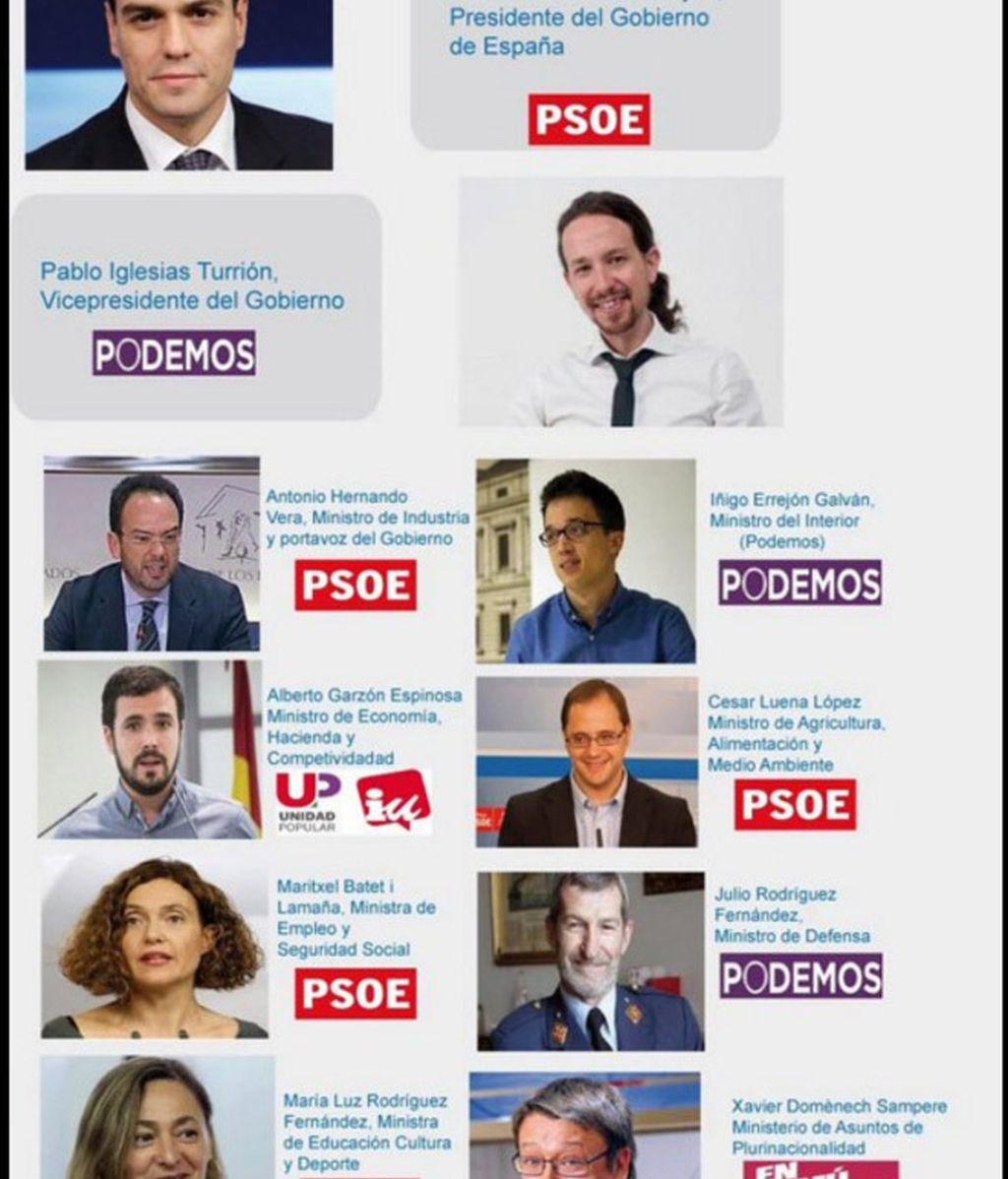 Podemos Zaragoza 'desvela' los ministros del pacto entre Pedro Sánchez y Pablo Iglesias