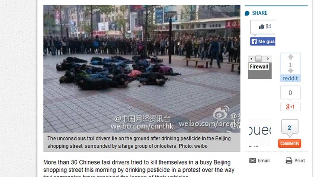 Treinta taxistas chinos acaban hospitalizados al intentar un suicidio en masa