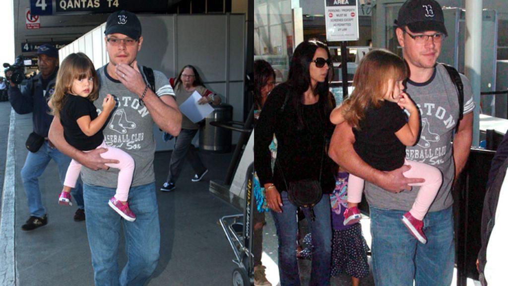 Matt Damon y su hija Gía, de vuelta a Los Ángeles