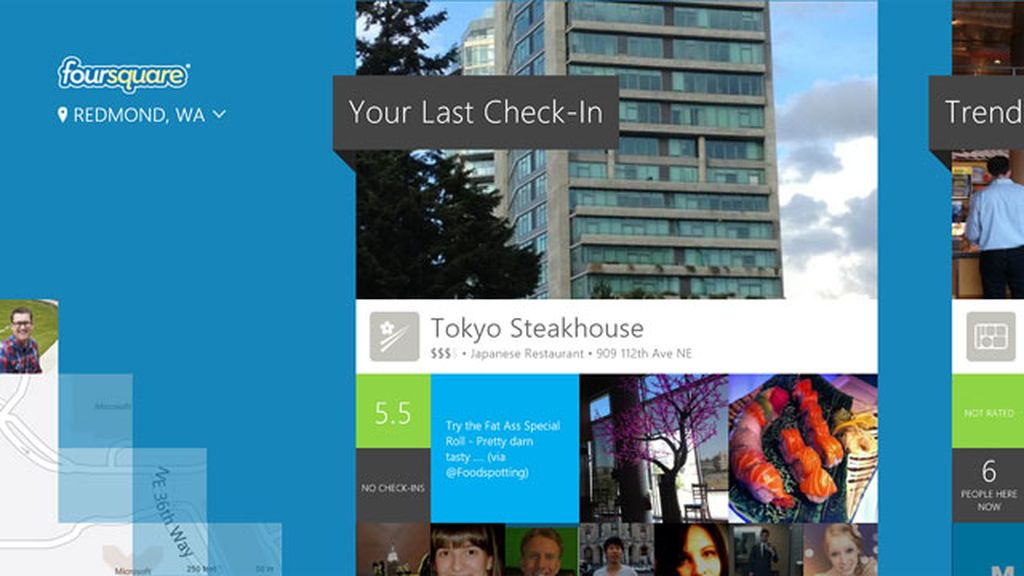 Foursquare y Windows 8, Microsoft