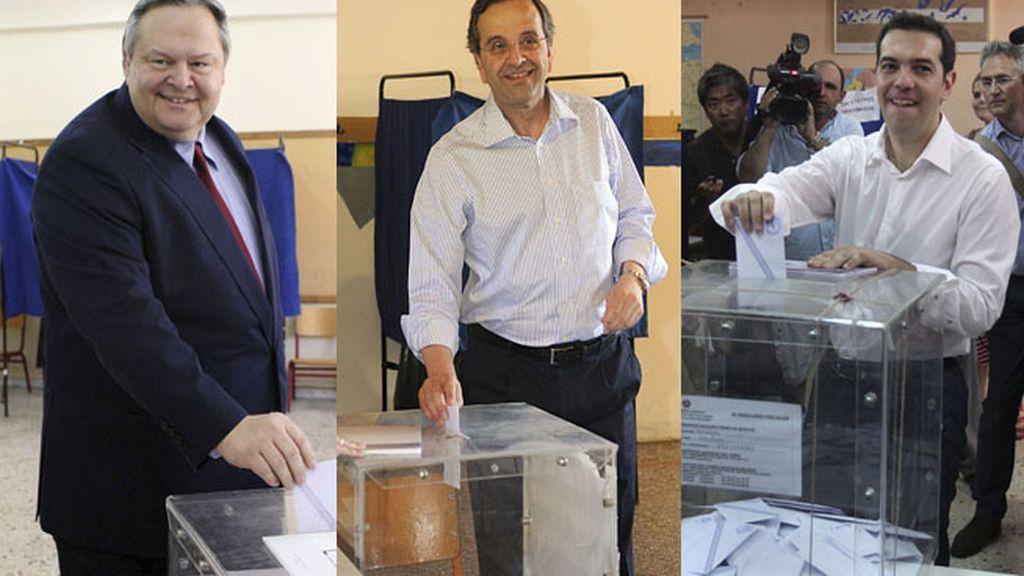 Líderes griegos votando