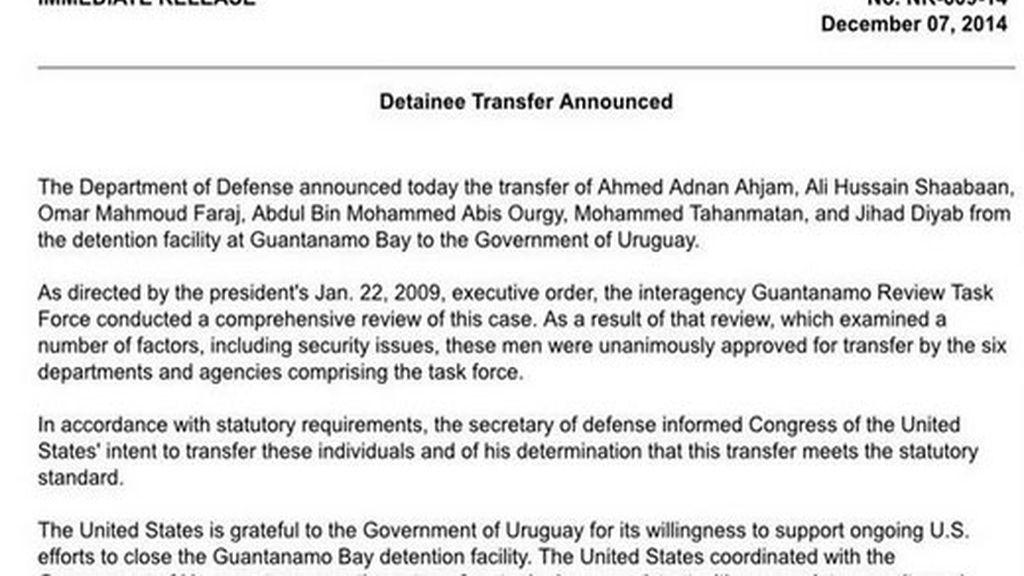 El Pentágono efectúa la entrega a Uruguay de los seis presos de Guantánamo