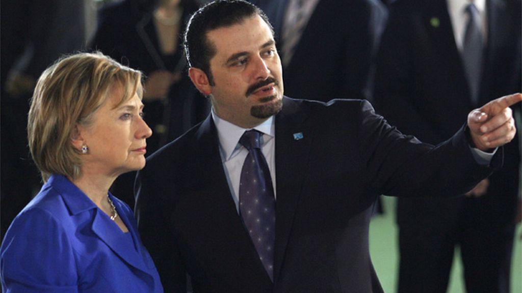 Hillary Clinton con el presidente de Líbano