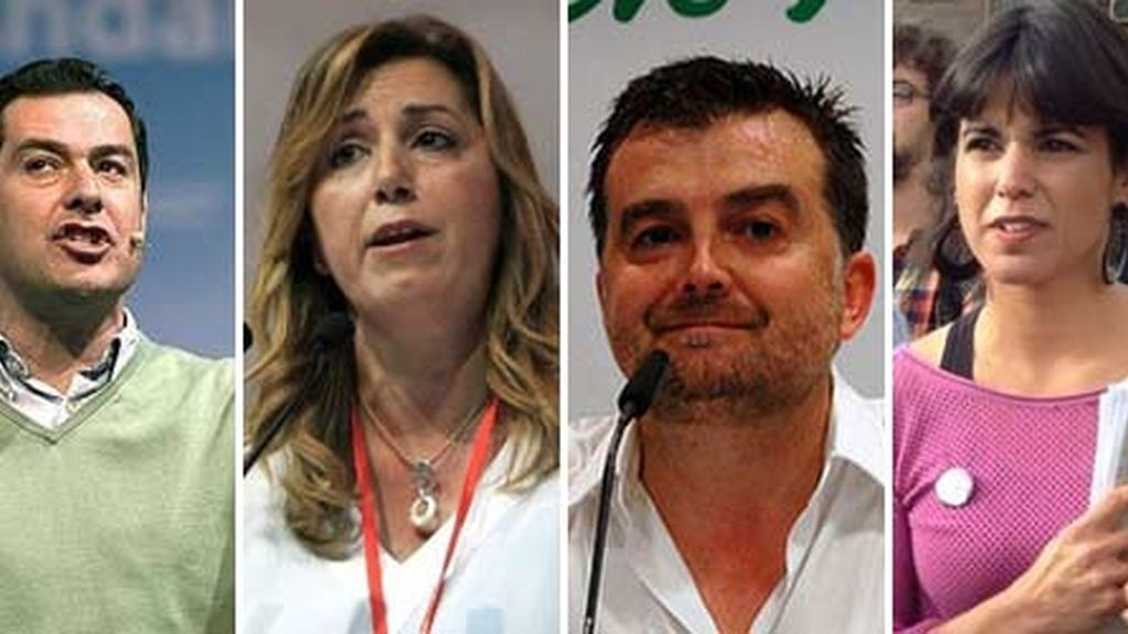 Juan Manuel Moreno, Susana Díaz, Antonio Maíllo, Teresa Rodriguez, candidatos a la Junta de Andalucía