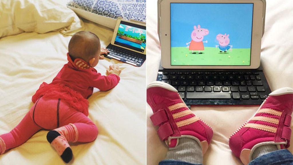 Pero lo que más le gusta es ver los dibujos 'Peppa Pig'