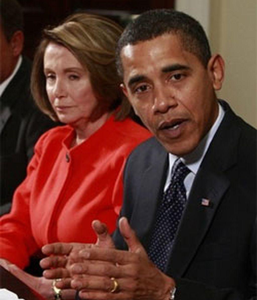 Obama, en la sala Roosevelt. Foto: AP