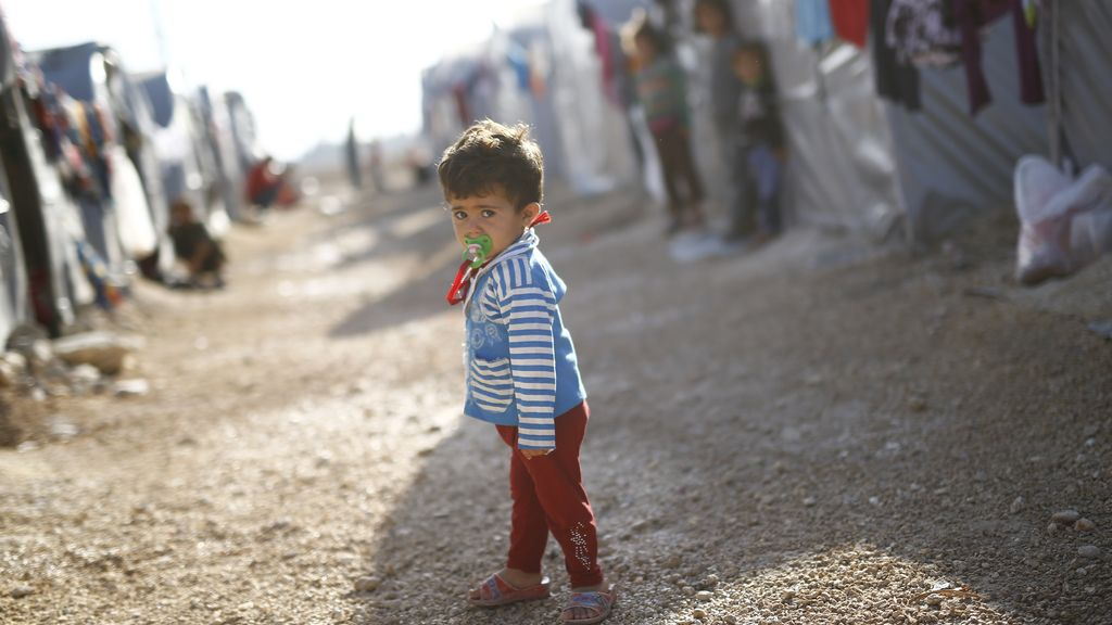 Un niño refugiado kurdo