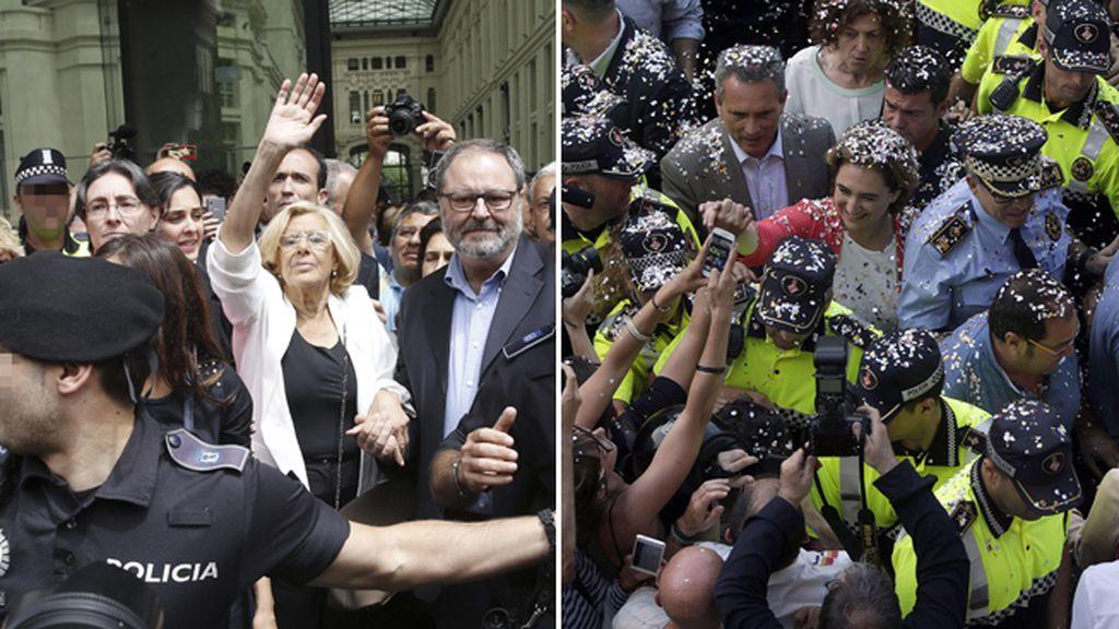 Ada Colau y Manuela Carmena a su salida del ayuntamiento