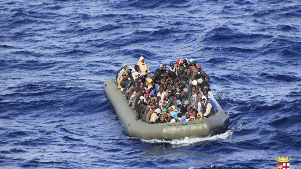 Inmigrantes rescatados en Lampedusa