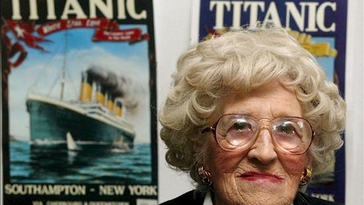 Millvina Dean, última superviviente de la tragedia del Titanic. Sus cenizas han sido hoy arrojadas al mar. EFE/Archivo