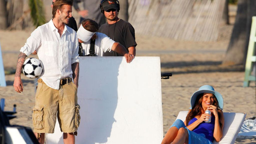 Beckham y Sofia Vergara, juntos en la playa