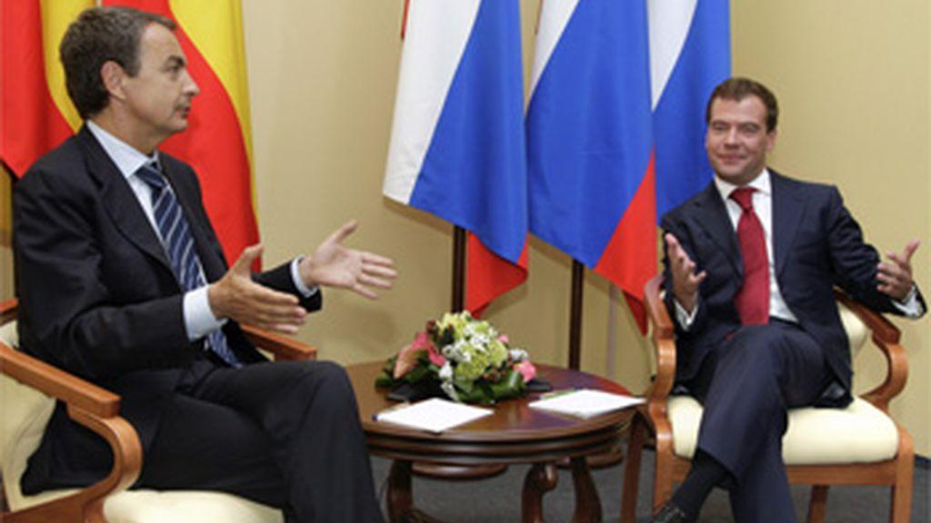 Zapatero con el presidente ruso, Dmitri Medvédev