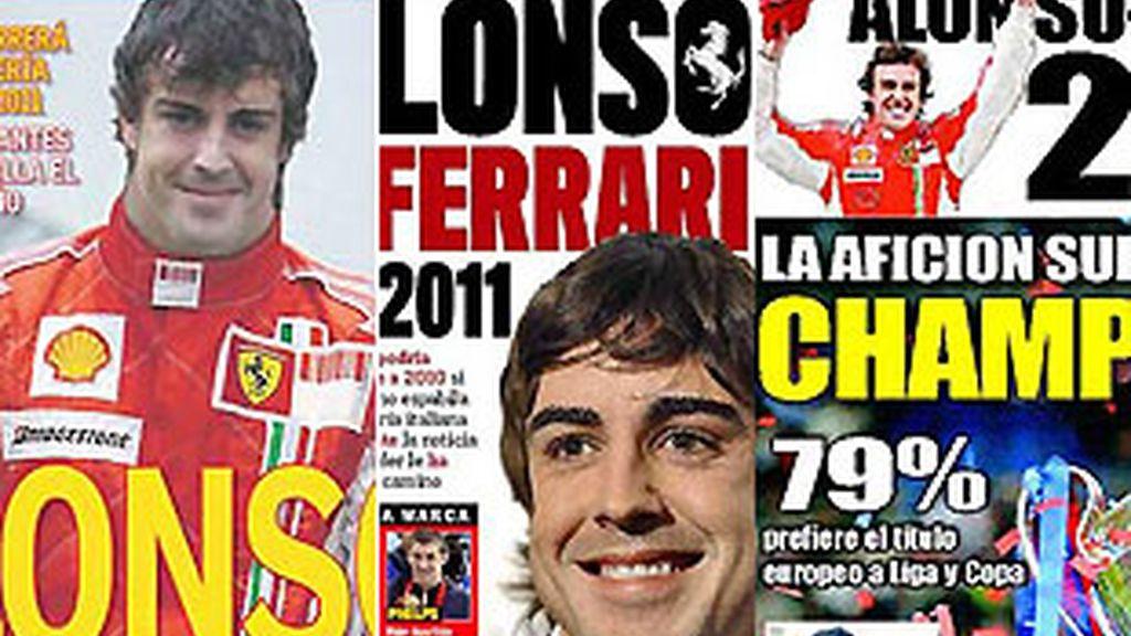 La noticia fue portada en la prensa deportiva española. Incluso algunos medios, como 'AS', se atrevieron a vestir a Alonso de rojo. FOTOS: Archivo.