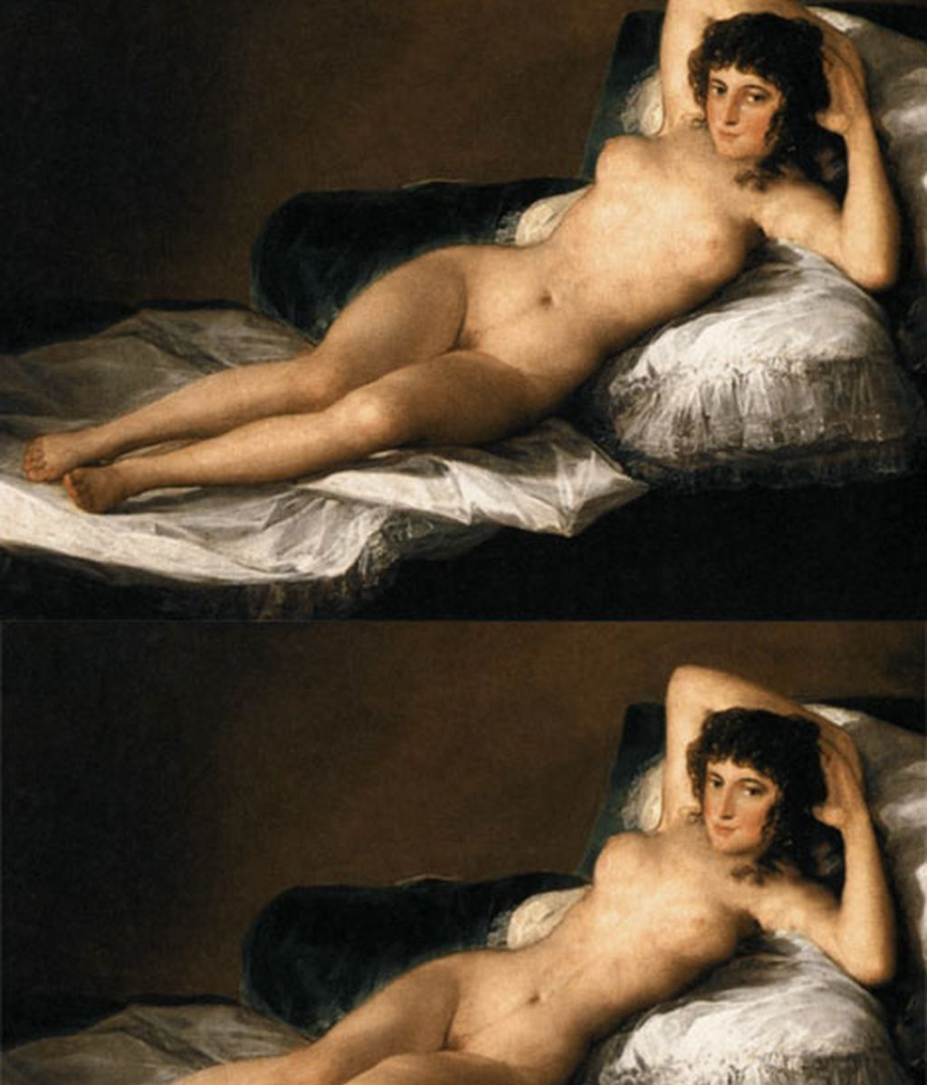El photoshop llega a las musas desnudas de grandes pintores clásicos
