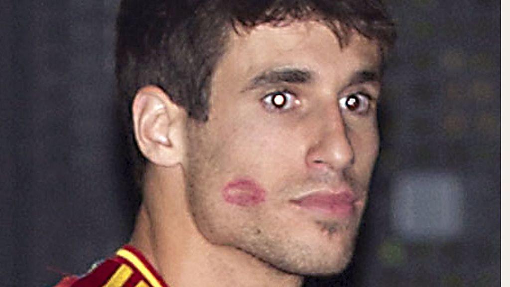 Javi Martínez durante la fiesta de la Selección española