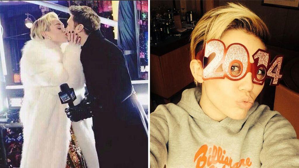 Miley Cyrus encuentra su beso de Media Noche en Times Square
