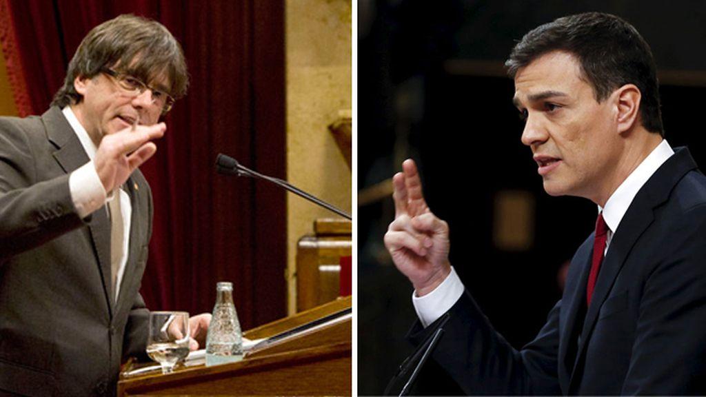 Montaje de Puigdemont y Pedro Sánchez