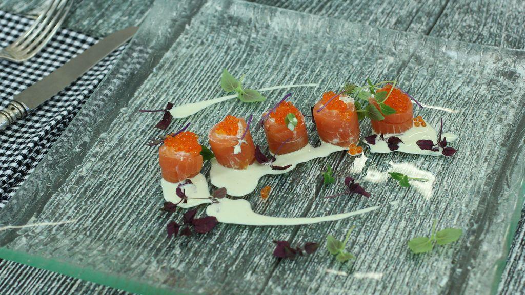 Pincho de salmón relleno de queso de 'Robin Food'