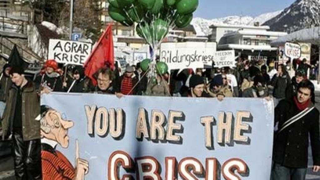 Protesta en Ginebra contra Davos. Foto: AP