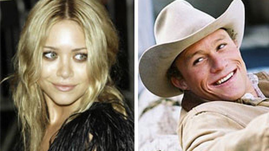 La actriz Mary-Kate Olsen y el actor Heath Ledger. Fotos: AP.