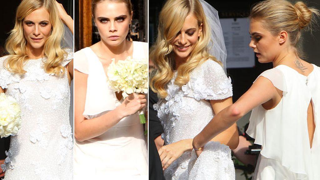 Cara Delevingne, de blanco en la boda de su hermana Poppy