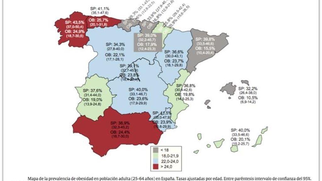 Mapa del sobrepeso