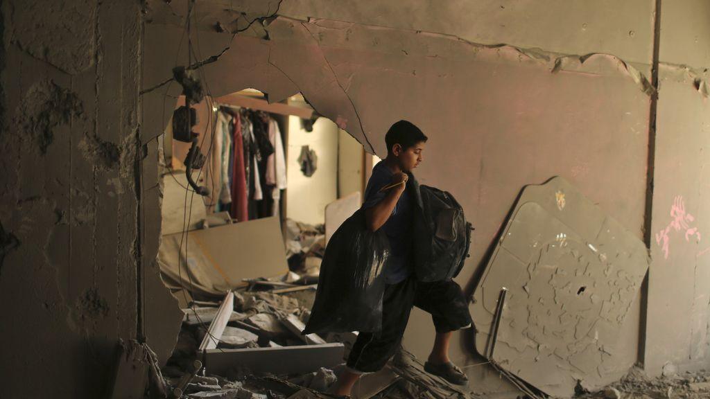 Los palestinos dejan sus casas
