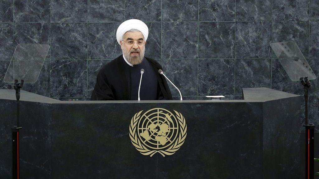 El presidente iraní Hasan Rouhani de dirige a la Asamblea General de la ONU