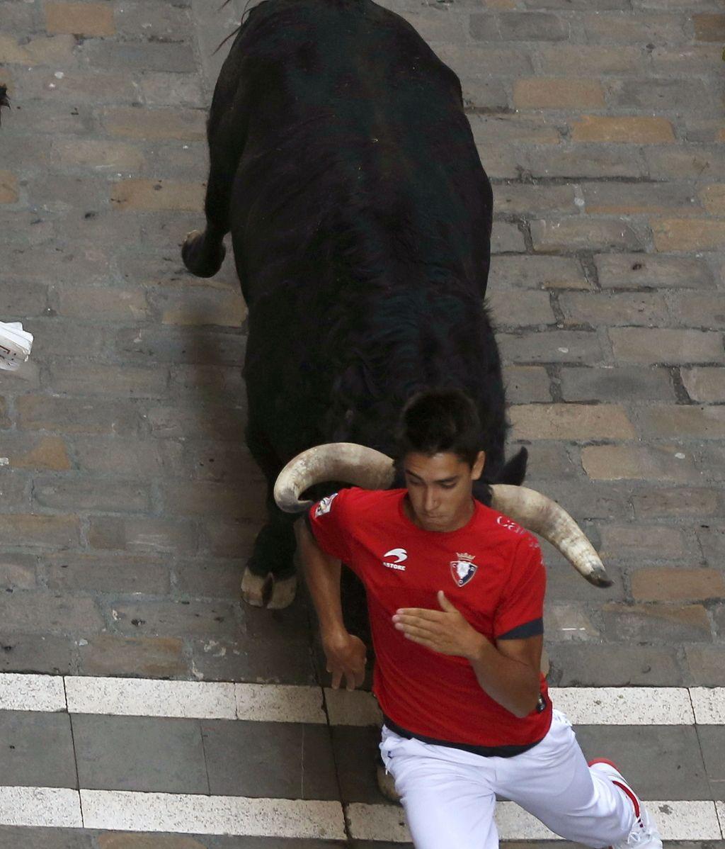 Encierroveloz y peligroso, sin heridos por asta, de los toros de Valdefresno