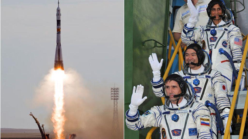 El cosmonauta rusa Yuri Malenchenko, la astronauta de la NASA Sunita Williams y el astronauta japonés Akihito Hoshide