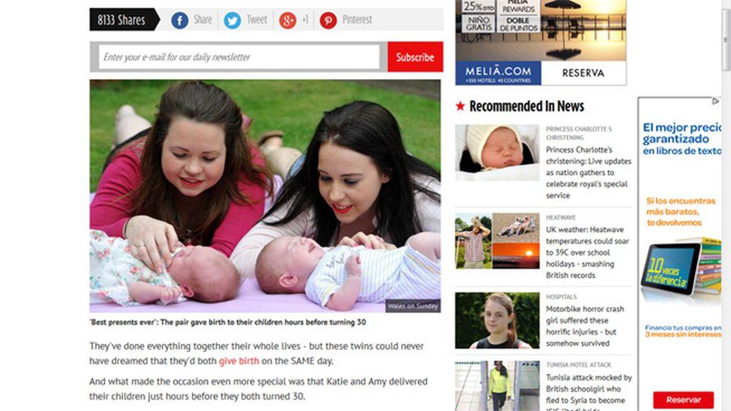 Unas gemelas dan a luz a su primer hijo el mismo día