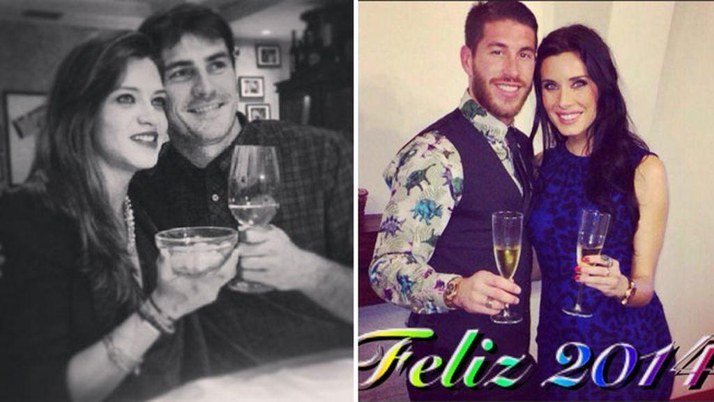 Sara Carbonero e Iker Casillas y Pilar Rubio y Sergio Ramos, sendas felicitaciones: esperando un hijo, con un brindis y posando en pareja