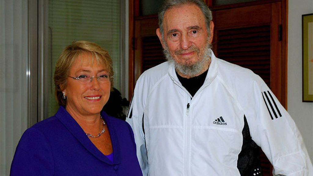 Fidel Castro y Michelle Bachelet