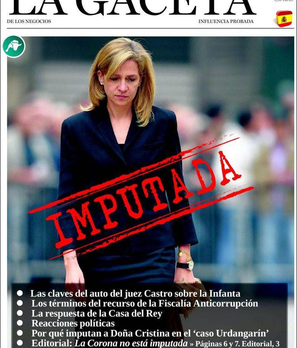 Así ve la prensa la imputación de la infanta Cristina